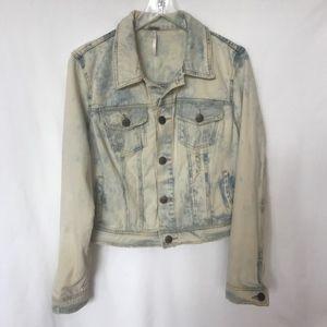 Free People Bleached Acid Wash Blue Jean Jacket 10